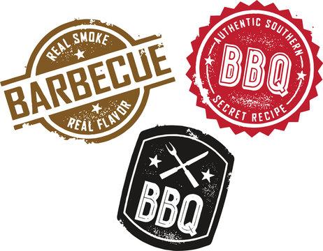 Vintage Barbecue BBQ Menu Design Stamps