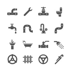 Plumbing service objects, tools, bathroom, sanitary engineering vector icons. Plumbing for bathroom, set of icon plumbing pipe illustration