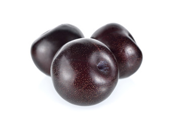 ripe black plum on white background
