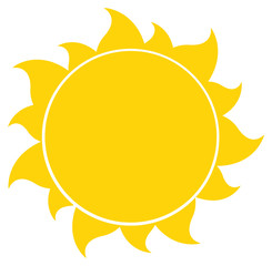 Yellow Silhouette Sun. Illustration Isolated On White Background