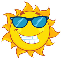 Smiling Summer Sun Cartoon Mascot Character With Sunglasses