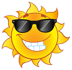 Smiling Summer Sun Cartoon Mascot Character With Sunglasses In Gradient