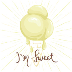 Funny ice cream - I'm sweet /Summer hand drawing calligraphy, vector illustration