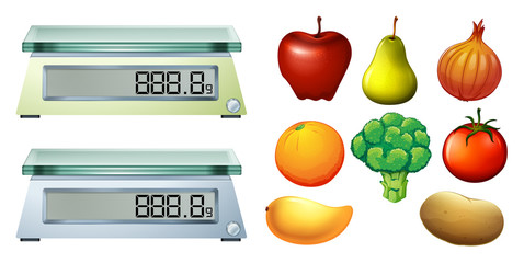 Fresh fruits and measuring scales