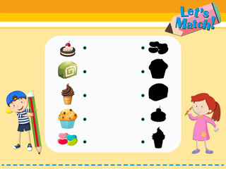 Matching game template with desserts
