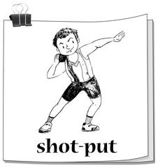 Shot put sport on paper