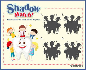 Game template with matching kids and tooth
