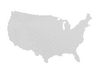 Map of United States of America in halftone style. Black halftone dots in radial composition with centre in the north-east on white background