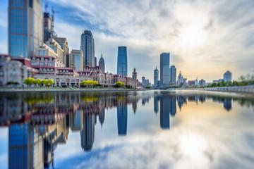 Jinwan Plaza under blue sky,tianjin china.