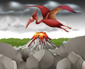 Dinosaur flying over the volcano
