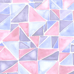 Watercolor colorful hipster pattern with triangle mosaic