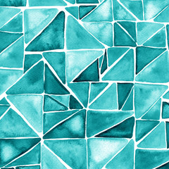 Watercolor turquoise hipster pattern with triangle mosaic