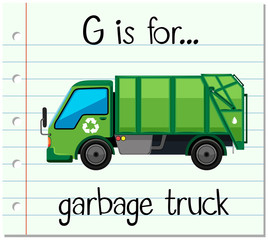 Flashcard letter G is for garbage truck