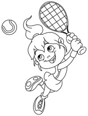 Outlined tennis girl