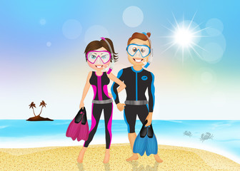 man and woman with fins and scuba mask