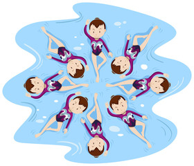 Woman synchronised swimming in group