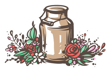 Sketched milk can with flowers.
