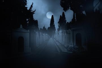 Cemetery street at night
