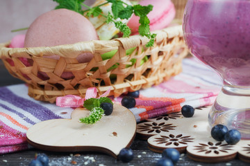 Delicious bilberry smoothie, detox yogurt or milkshake with fres