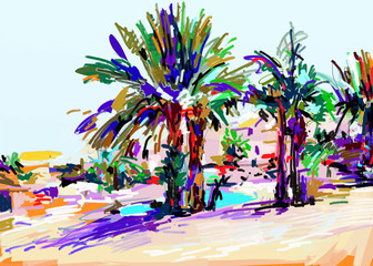 original digital painting of Cyprus colorful landscape with palm