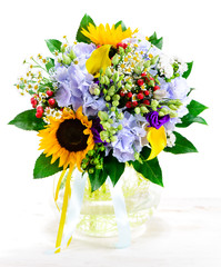 bright summer Bouquet with sunflower isolate on white