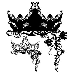 royal crown among rose flowers