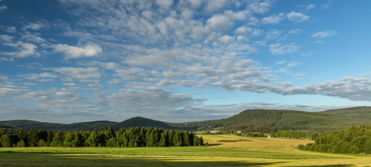 View on Sumava mountain on summer cloudy day in the in Sumava, South Bohemia.