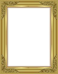 Wall Mural - Gold photo frame with corner line floral for picture, Vector design decoration pattern style.frame floral border template illustration,frame icon, frame corner, frame border, frame image,