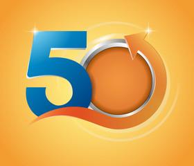 anniversary logo with arrow,Template logo 50th anniversary and gold frame oval with arrow up, anniversary vector color design, orange background