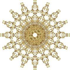 Vector Beautiful Deco gold Mandala, Patterned Design Element, Ethnic Amulet