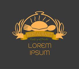 Gold Restaurant logo sign, food logo and leaf, restaurant and food with ribbon and leaf