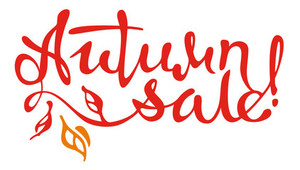 "Original custom hand lettering ""Autumn sale!"". Design element for advertisements, flyer, print and web banners."