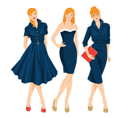 Vector illustration of secretary or professor in formal blue dress and redhead girl on holiday. Woman holding document