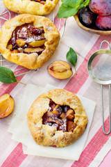 Rustic plum tart pie galette