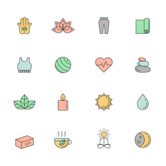 Yoga and spa multicolored icon vector set. Clean and simple outline design.