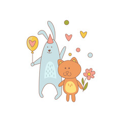 Cat And Rabbit Characters On Birthday Party