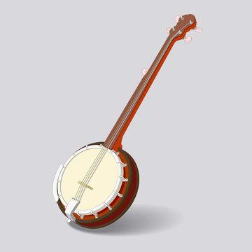 isometric vector banjo on gray background.