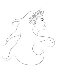 vector illustration profile face of beautiful girl in wreath with long hair on white background