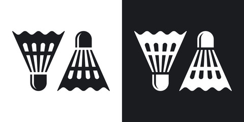 Vector badminton shuttlecocks icon. Two-tone version on black and white background