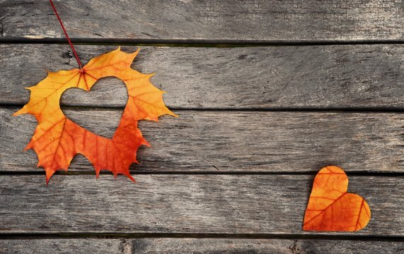 Autumn leaves. Autumn leaves hearts on wood background.
