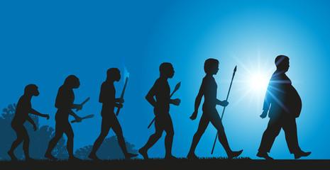 évolution de l'humanité vers une augmentation de l'obésité dû à une mauvaise alimentation