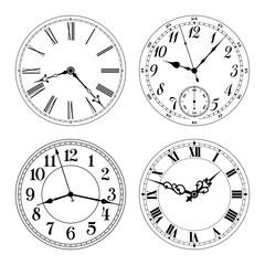Editable vector clock faces. Arabic and roman numerals. Round shape. Easily remove and replace hands and design.
