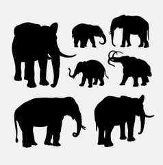 Elephant African wild animal silhouette. Good use for symbol, logo, web icon, mascot, sticker design, element, or any design you want. Easy to use.