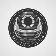 Diving and snorkeling vector logo, icon, symbol, emblem, sign, design element. Retro, vintage diving suit illustration