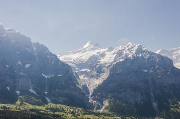 Grindelwald, Dorf, Berner Oberland, Schreckhorn, Wetterhorn, Grosse Scheidegg, Alpen, Schweizer Berge, Wanderweg, Gletscher, Sommer, Schweiz