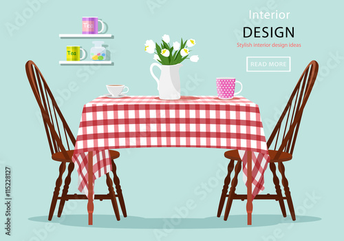 flowers on dining table modern graphic vector concept of dining table with chairs cups