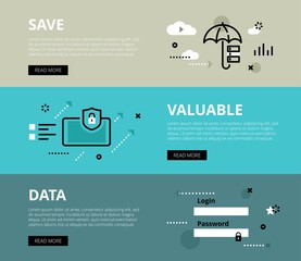 Save Valuable Data. Web banners vector set
