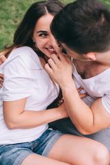 young couple in love having fun and enjoying the beautiful natur