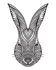 Hand drawn graphic ornate head of rabbit