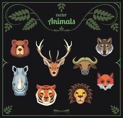 Set of animal heads. Vector illustration.